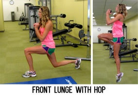 Lunge forward, then while in a lunge position spring into a single leg jump on your front leg before lowering back into a lunge. Repeat on the same leg for 30 seconds