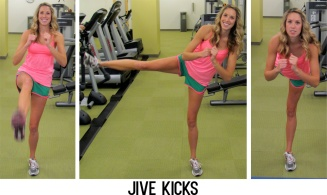On a single leg, kick the raised leg forward, to the side, then to the back then repeat without putting the raised leg to the ground. Continue this balance move for 30 seconds