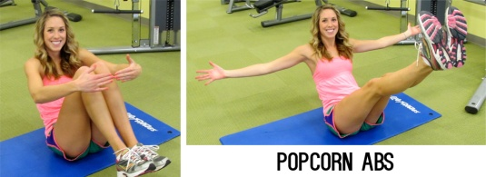 "Sit on your butt and balance into a ball with your knees tucked to your chest and your arms circling your knees. Extend into boat pose then return to your ""popcorn kernel"". Repeat for 30 seconds"