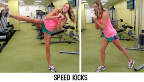Perform a side kick with your right leg followed by a tap with your left, repeat for 30 seconds without stopping