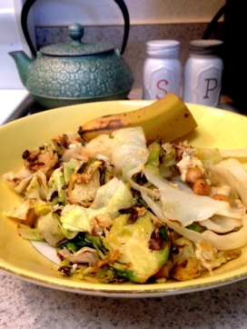Cabbage and Brussel Sprout Scramble