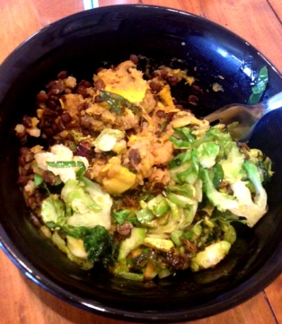 Mashed Delicata Squash with Quinoa, Lentils, Cannellini Beans and Brussel Sprouts