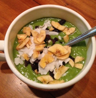 Green Bowl with Coconut Ribbons, Banana Chips and Raisins