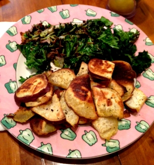 Roasted Japanese Sweet Potato with Roasted Kale